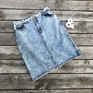 Vintage Acid Wash High Waisted Jean Skirt